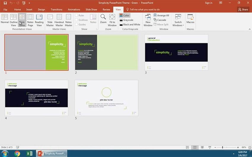 Open Slide Sorter View in PowerPoint