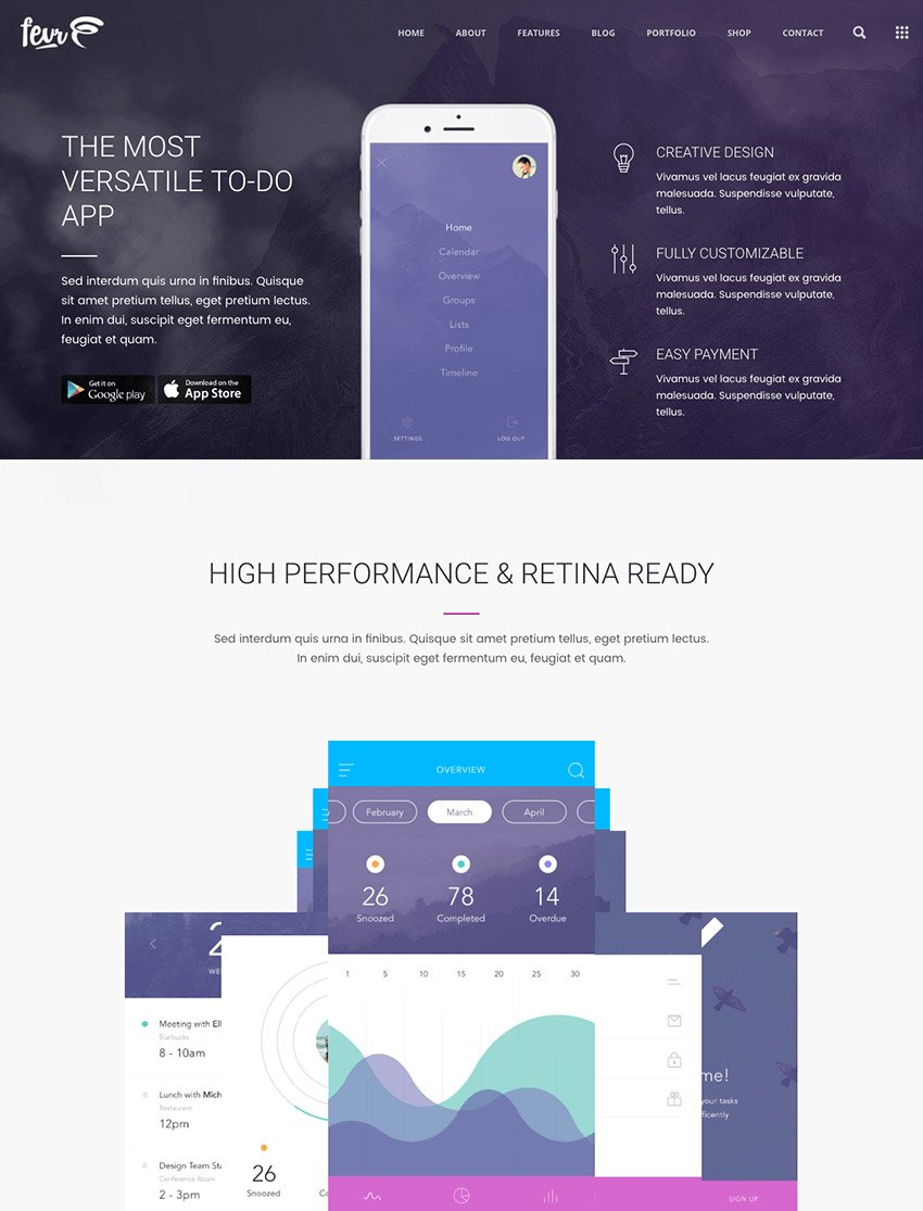 Fevr One Page Parallax WP Theme