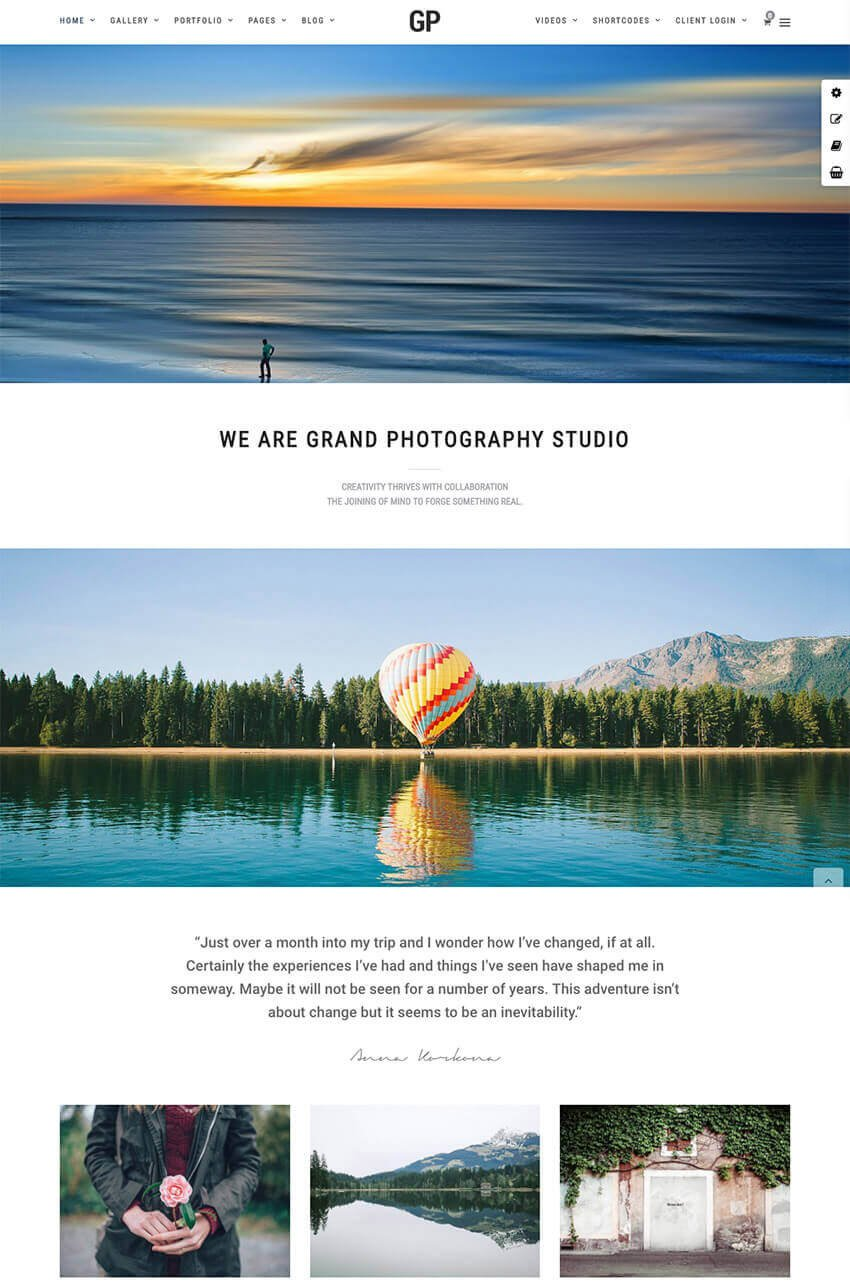 Grand Photography one-page WP theme for photographers