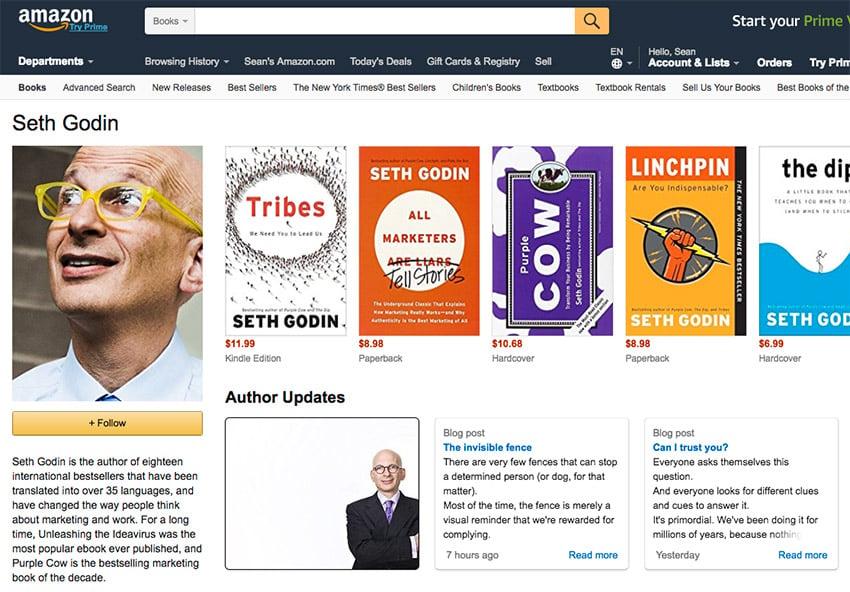 Seth Godin successful published author on Amazon