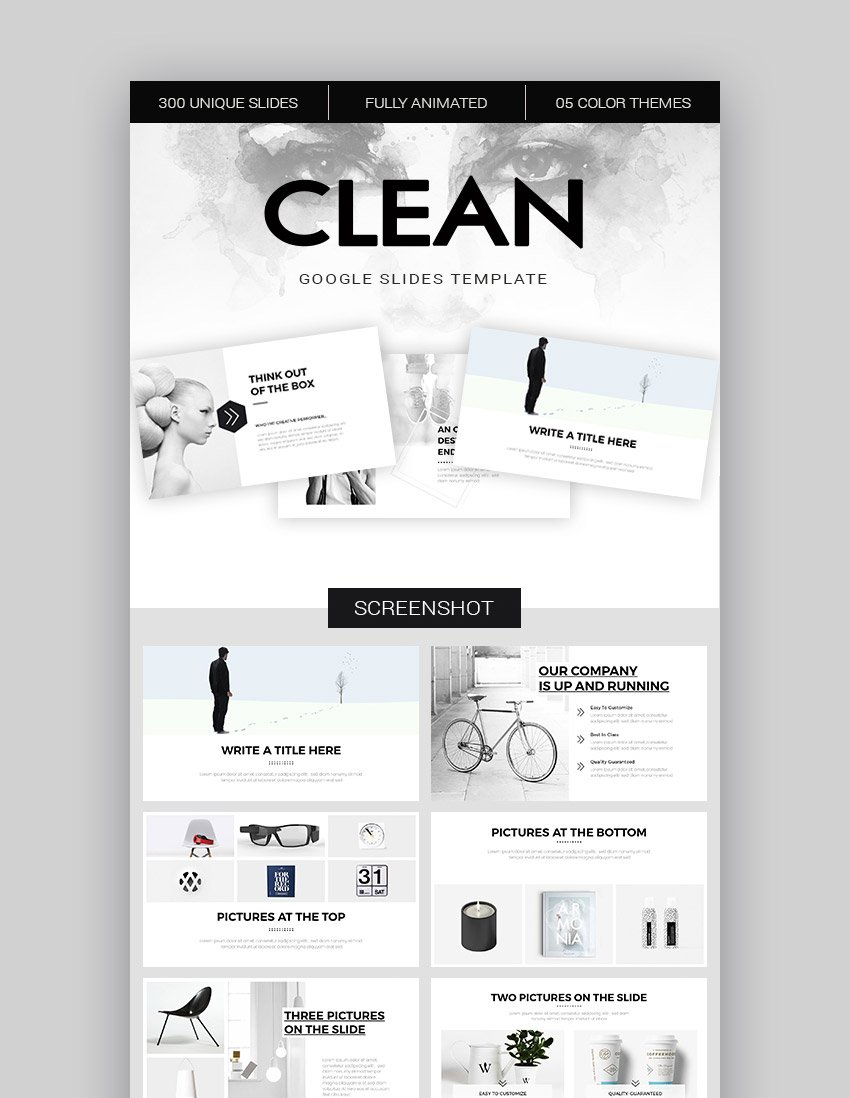 Clean Modern Präsentations Theme für Google Slides