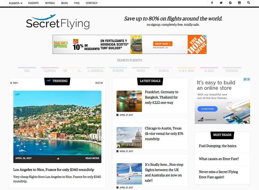 SecretFlying deals passive income site