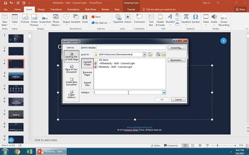 Here you can insert a link into PowerPoint