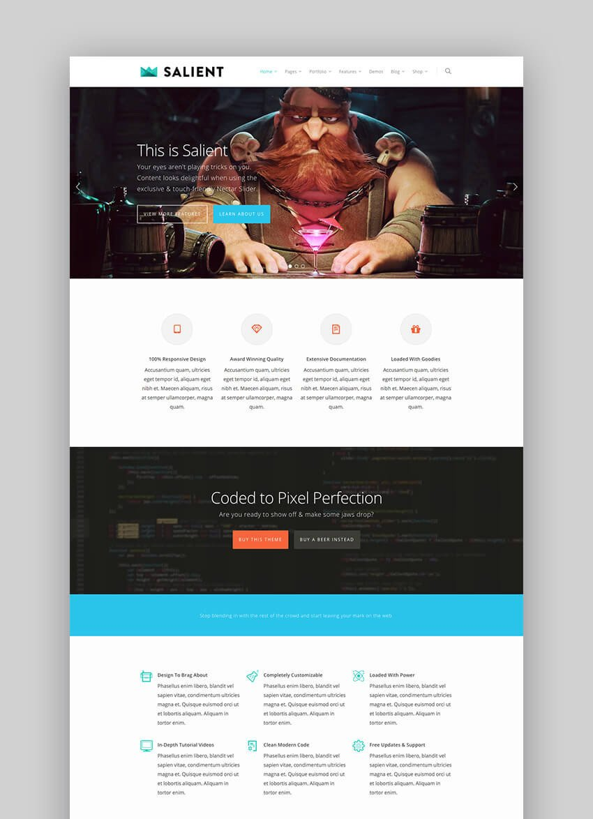 Salient multipurpose premium WordPress theme