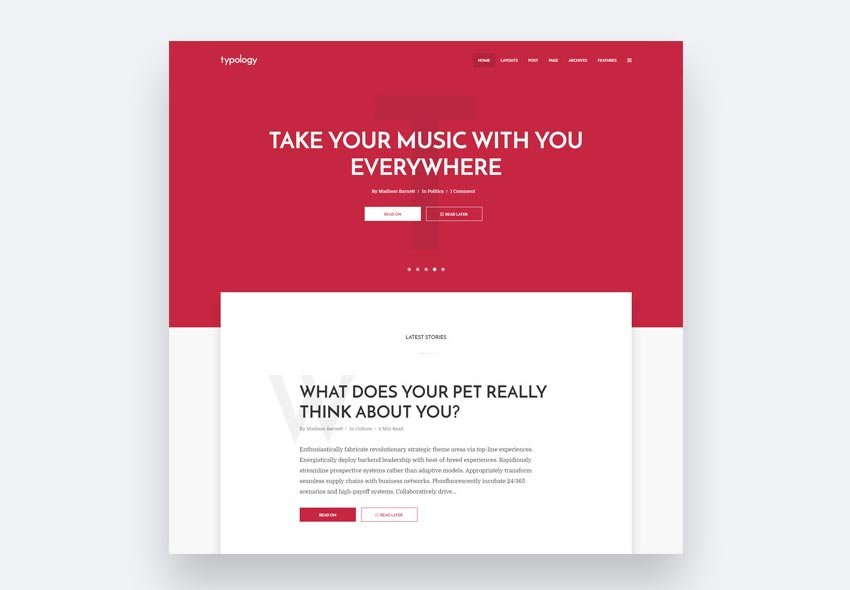 Typology flat WordPress theme with modern use of fonts
