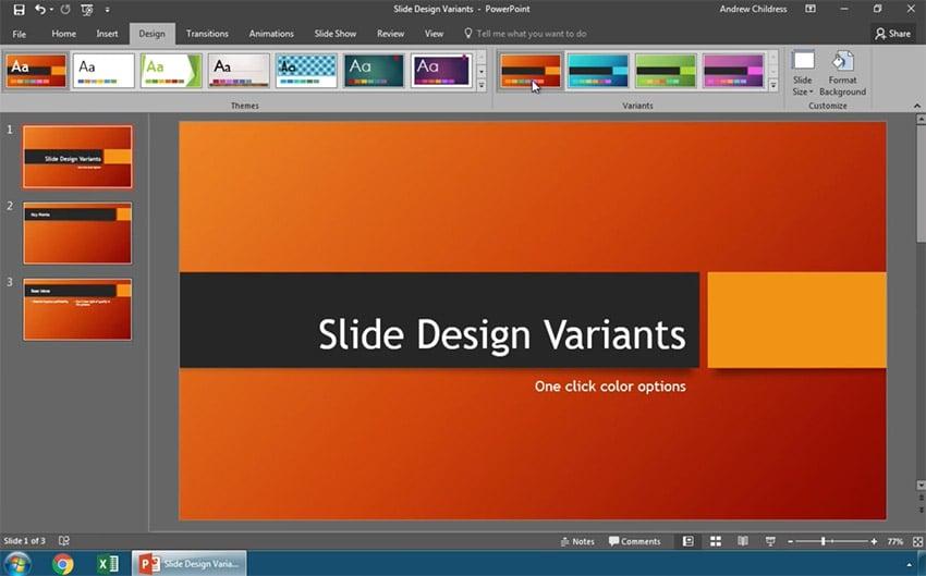 Change PowerPoint Slide Design Variants