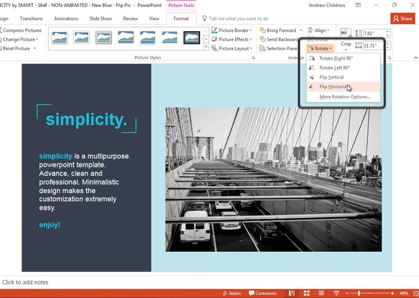 Flip the Image in PowerPoint Mirror