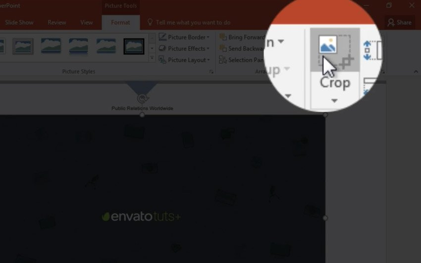 Select PowerPoint Crop image tool
