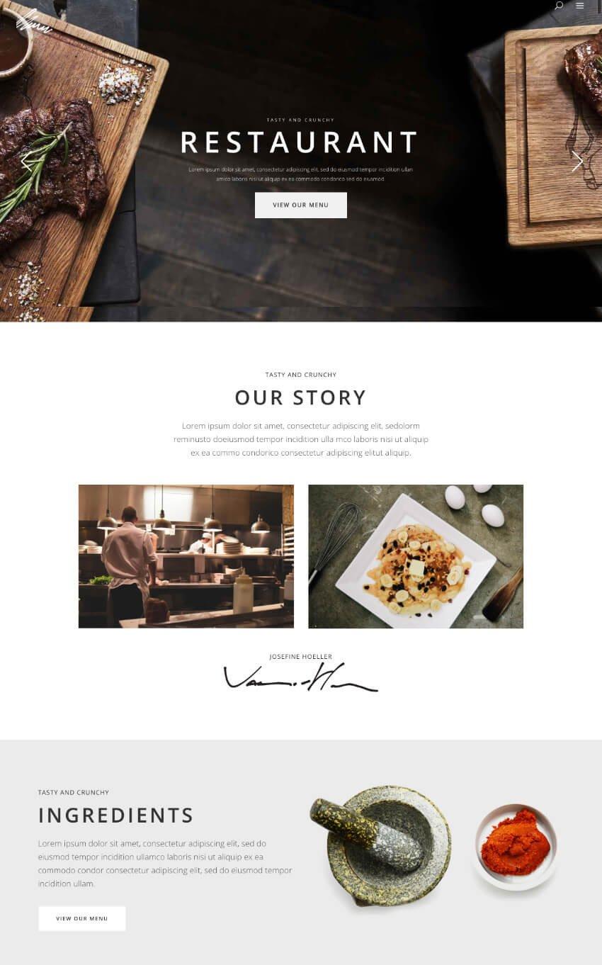 Default Savoy restaurant WP website theme demo homgepage