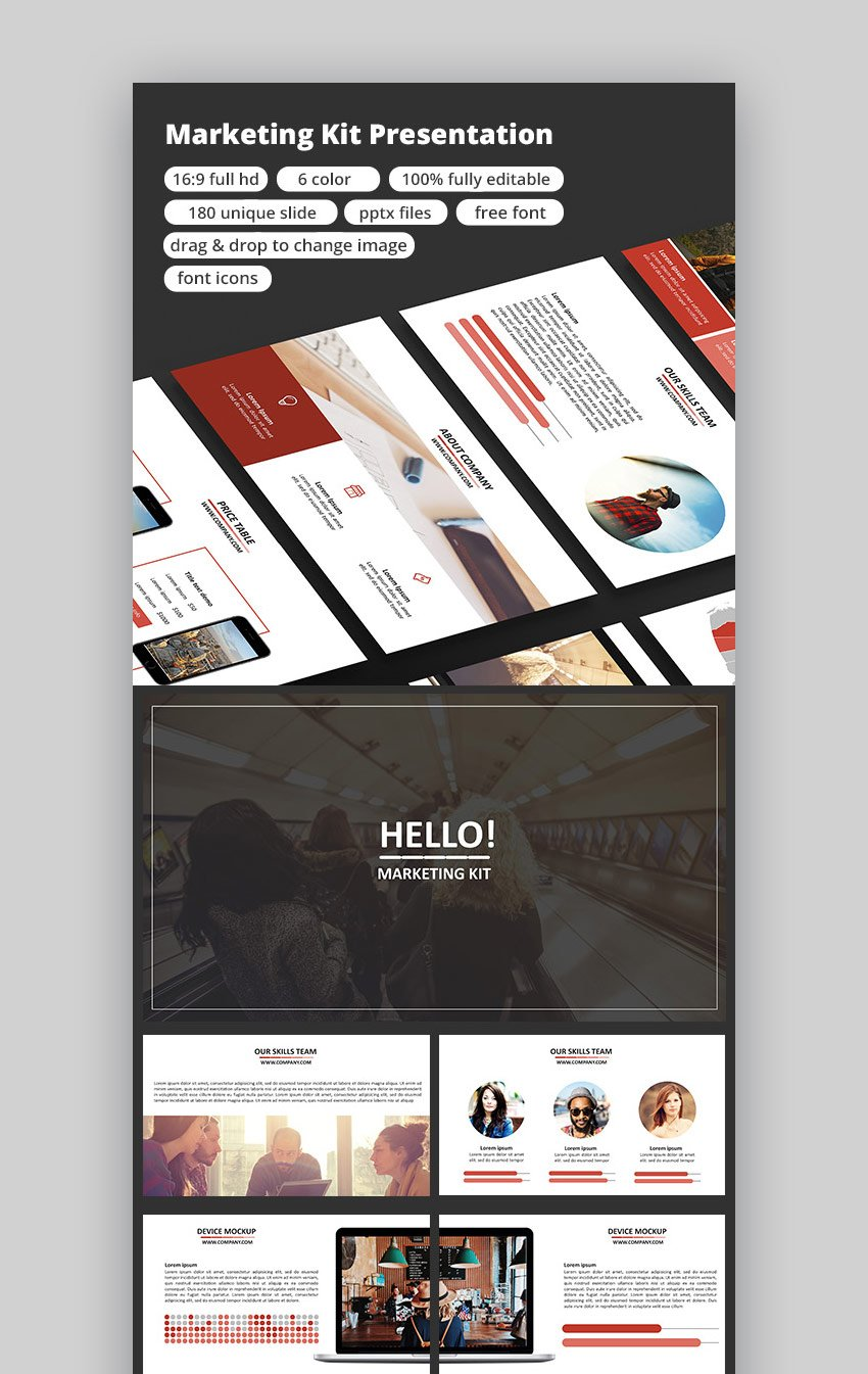 Marketing Kit PPT Template for PowerPoint Presentations