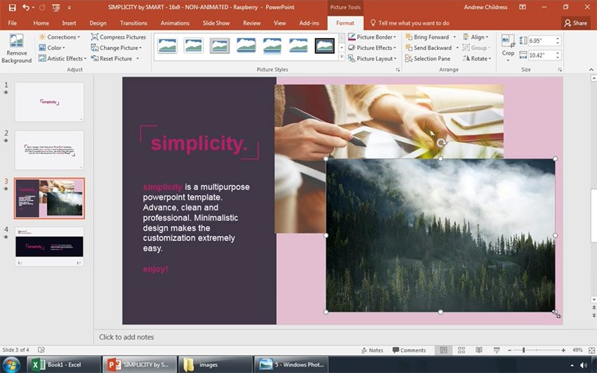Resize pictures after placing in your PPT slide