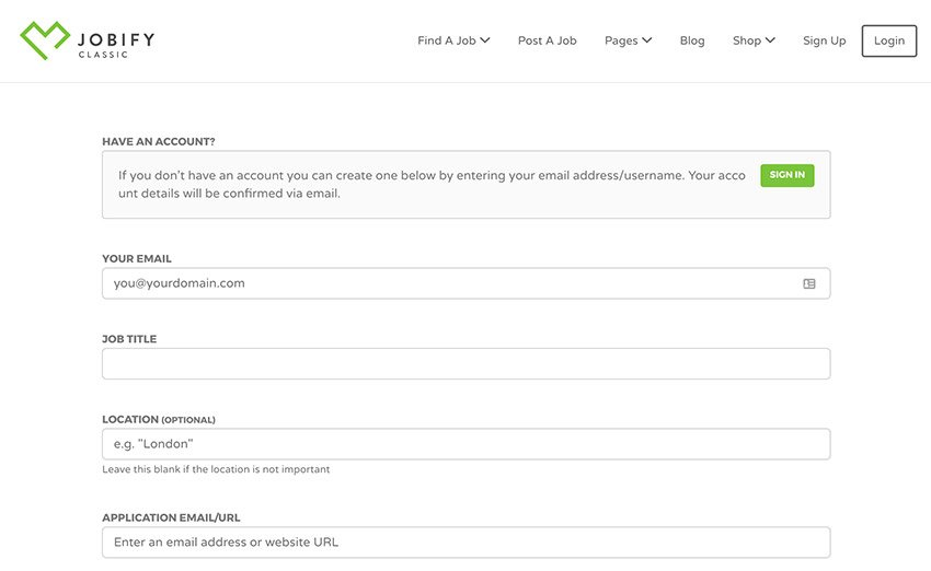 Jobify WordPress theme job submission form