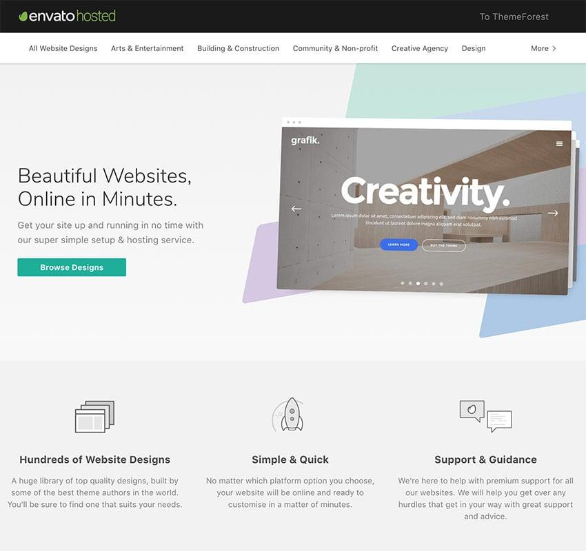 Envato Hosted WordPress hosting and quick blog setup