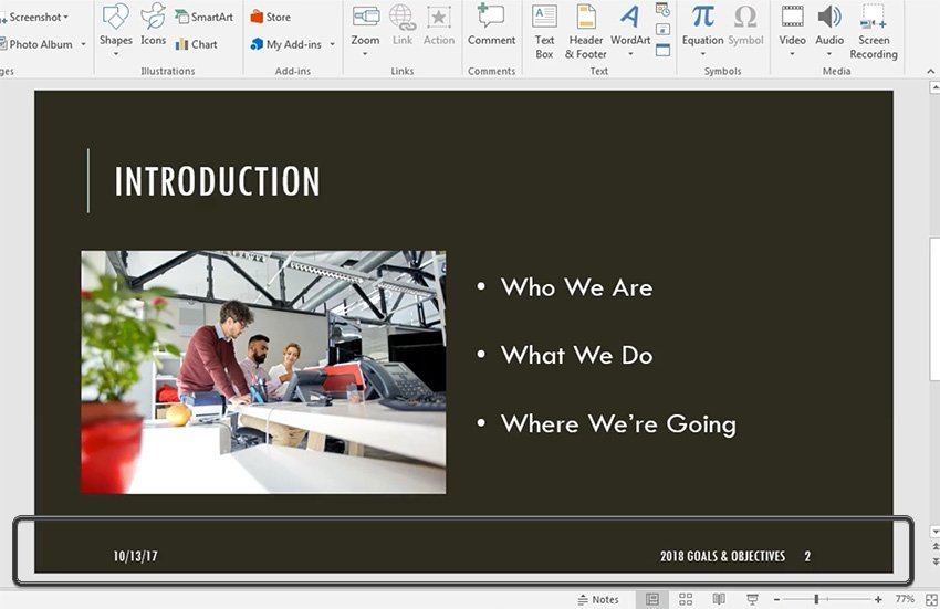 PowerPoint slide footer with changes applied