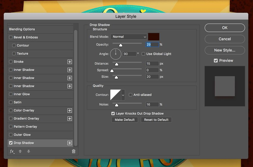 Layer Blending Options Drop shadow settings