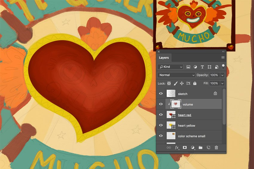 Paint over the heart shape to add the volume