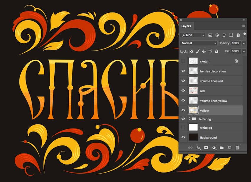 Layers arrangement in Adobe Photoshop