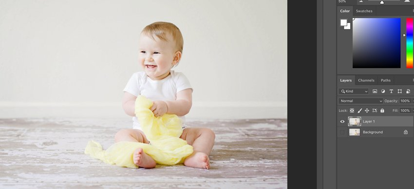 Open the baby photo in Adobe Photoshop