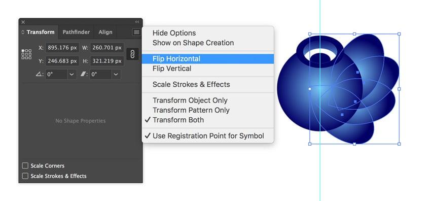 Flip horizontal in Adobe Illustrator