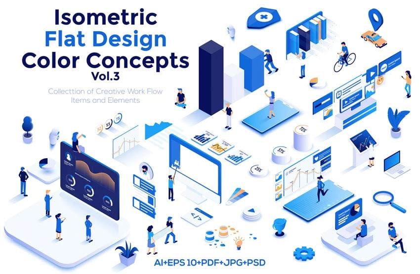 Modern flat design isometric illustrations