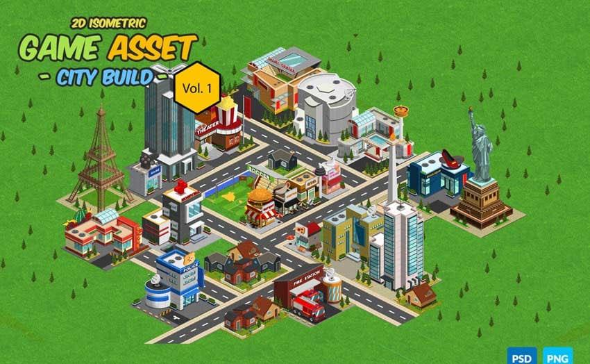 2D Isometric Game Asset - City Build Vol 1