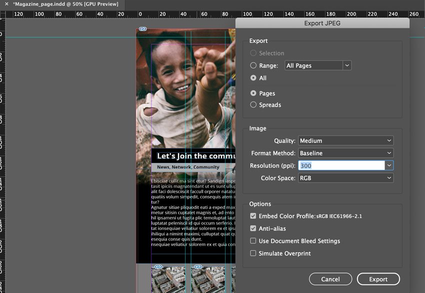 Export pages