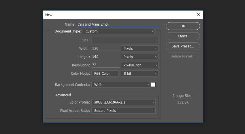 New file dialog box