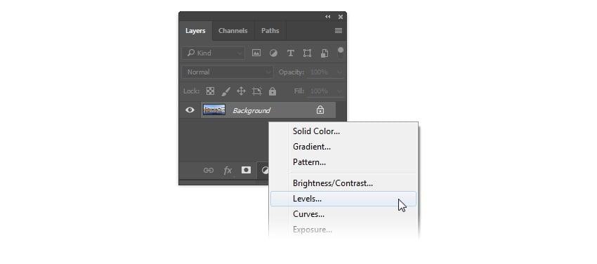 Add Adjustment Layer Levels