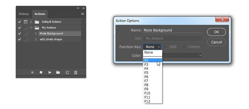 Add shortcut into each action