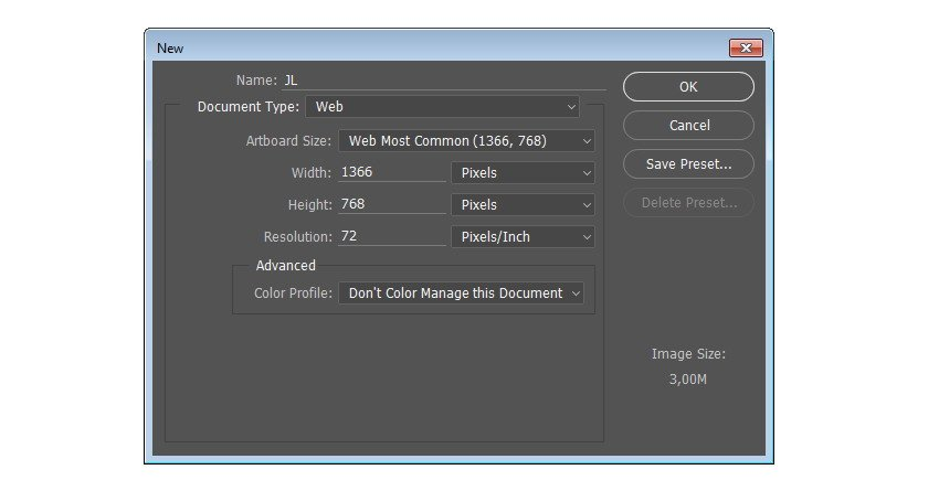 Make new canvas in Photoshop