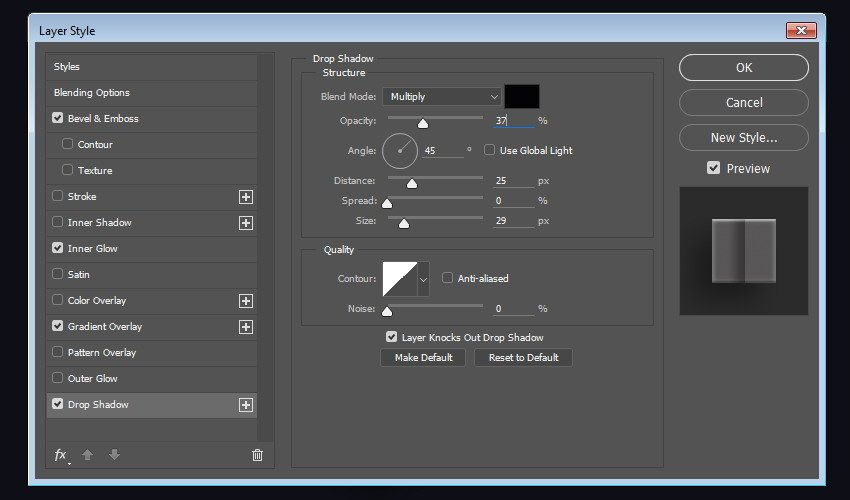 Apply Drop Shadow into the layer shape