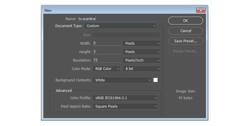 Make new file for TV scanline pattern