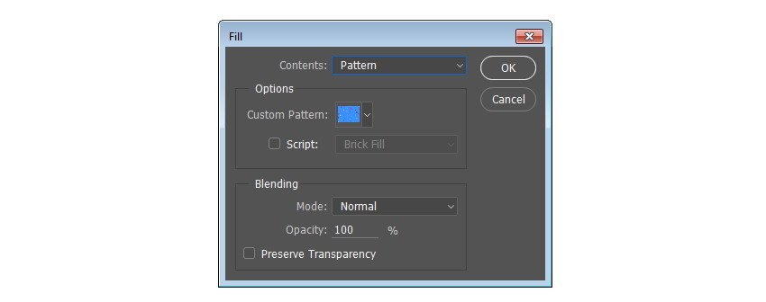 To use the pattern click Edit Fill