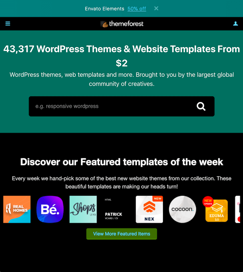 ThemeForest homepage seen in inverse color