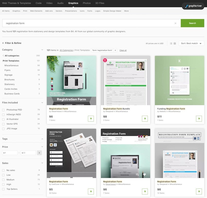 Print Registration Form Templates on GraphicRiver