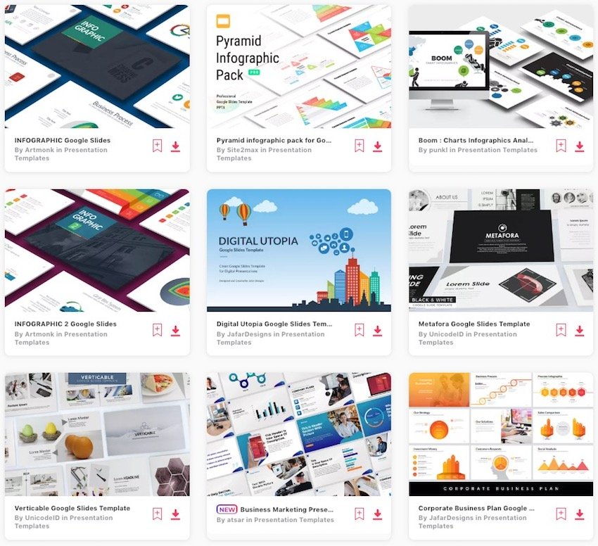 Infographic Template Choices in Envato Elements