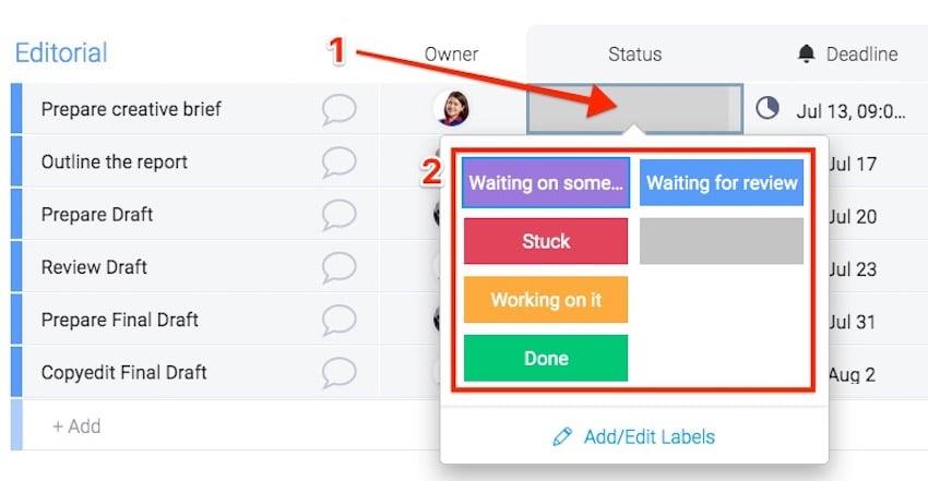 Project Management - Update Item Status on Mondaycom