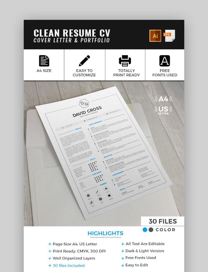 Clean Resume CV Template professional cv design