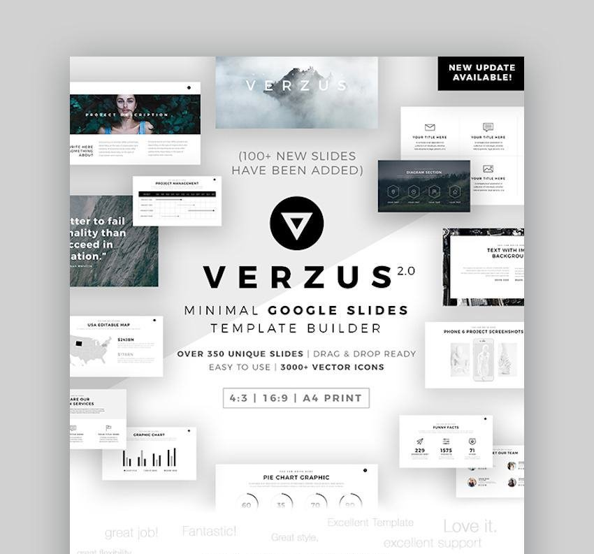 Verzus Minimal Google Slides Template with icons