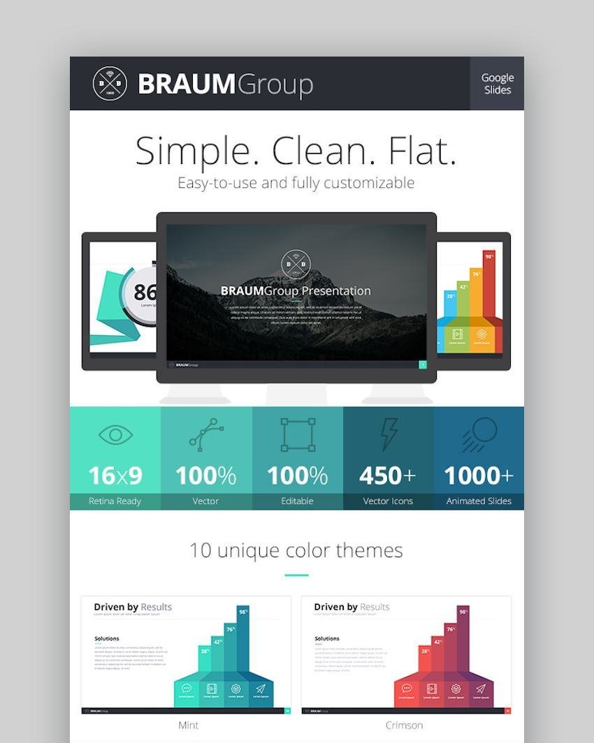 Braum Google Slides Presentation Template with icons