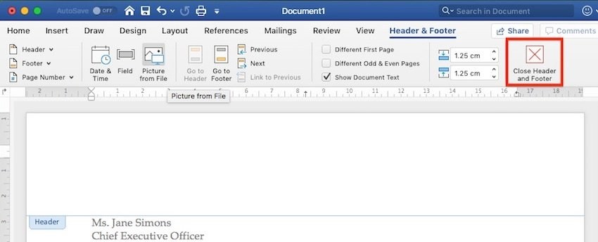Close Header and Footer in Microsoft Word