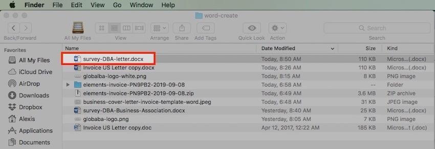Open a File Using Finder in Mac