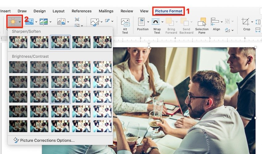 Picture Sharpness and Brightness Corrections in Word