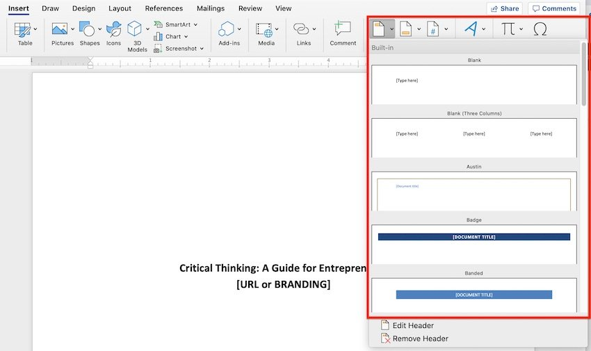 Built-in header and footer designs in Microsoft Word