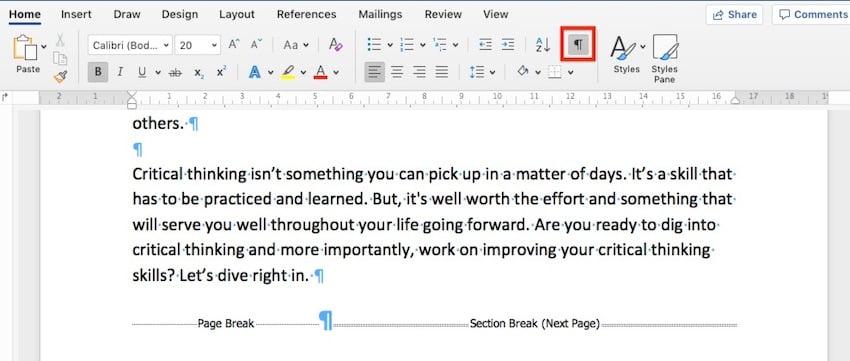 HideShow Paragraph Breaks in Microsoft Word