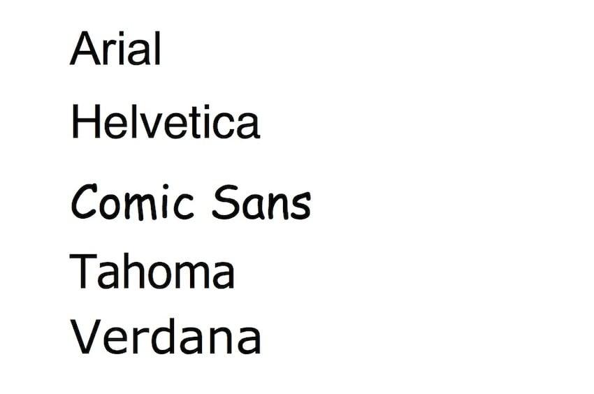 Microsoft Word font styles - Sans serif font examples