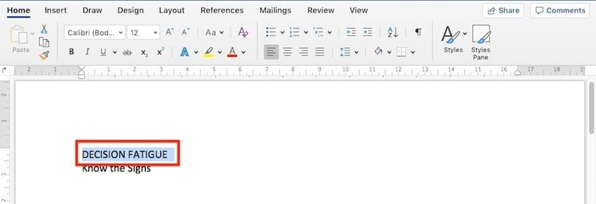 Change Microsoft Word default font - select text