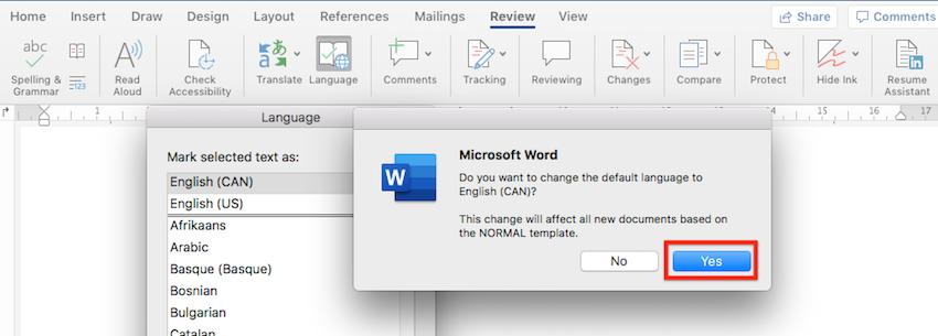 Default language in Word