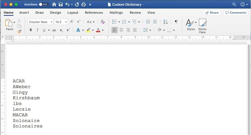 Word - Add or edit words in Custom Dictionary
