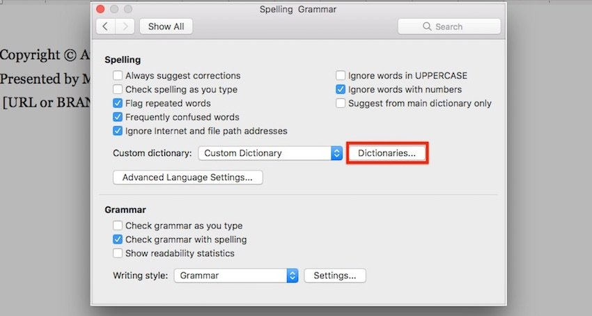 Word Custom Dictionary for Spell Check